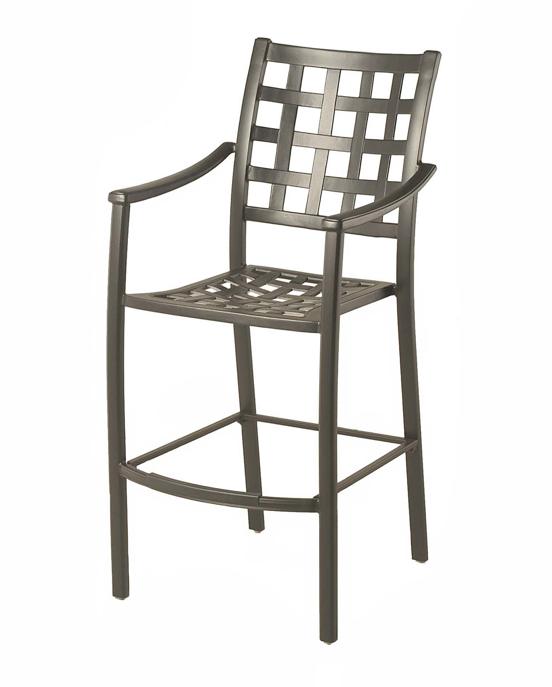 "Stratford Outdoor Stationary Bar Stool 24"" W x 19"" D x 29"" seat / 38"" arm / 49.2"" back Weight: 26.5lbs"