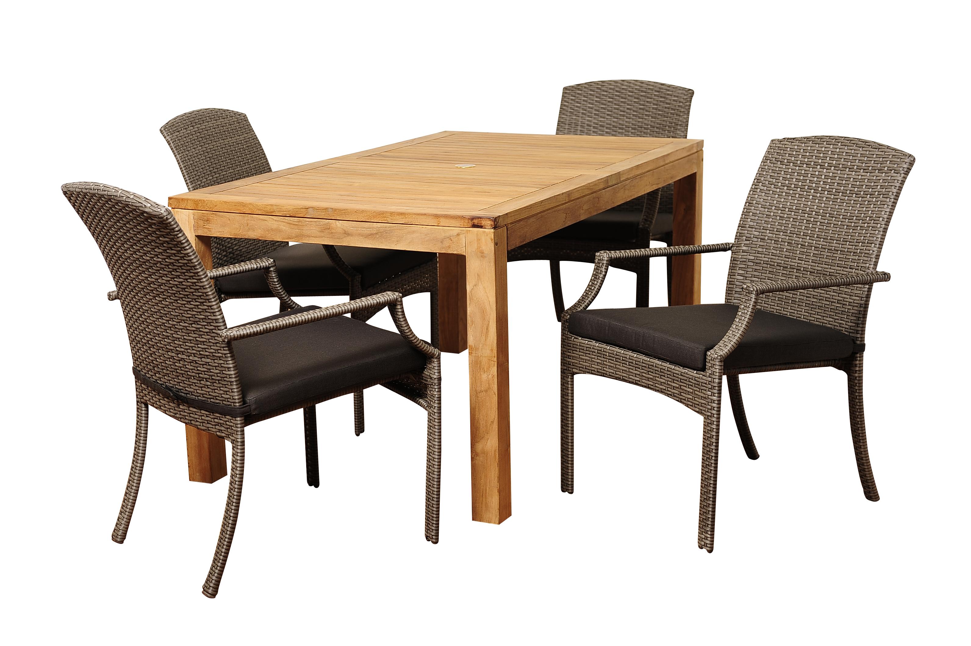 Shelton 5 Piece Teak Wicker Rectangular Dining Set With Grey Cushions Garde