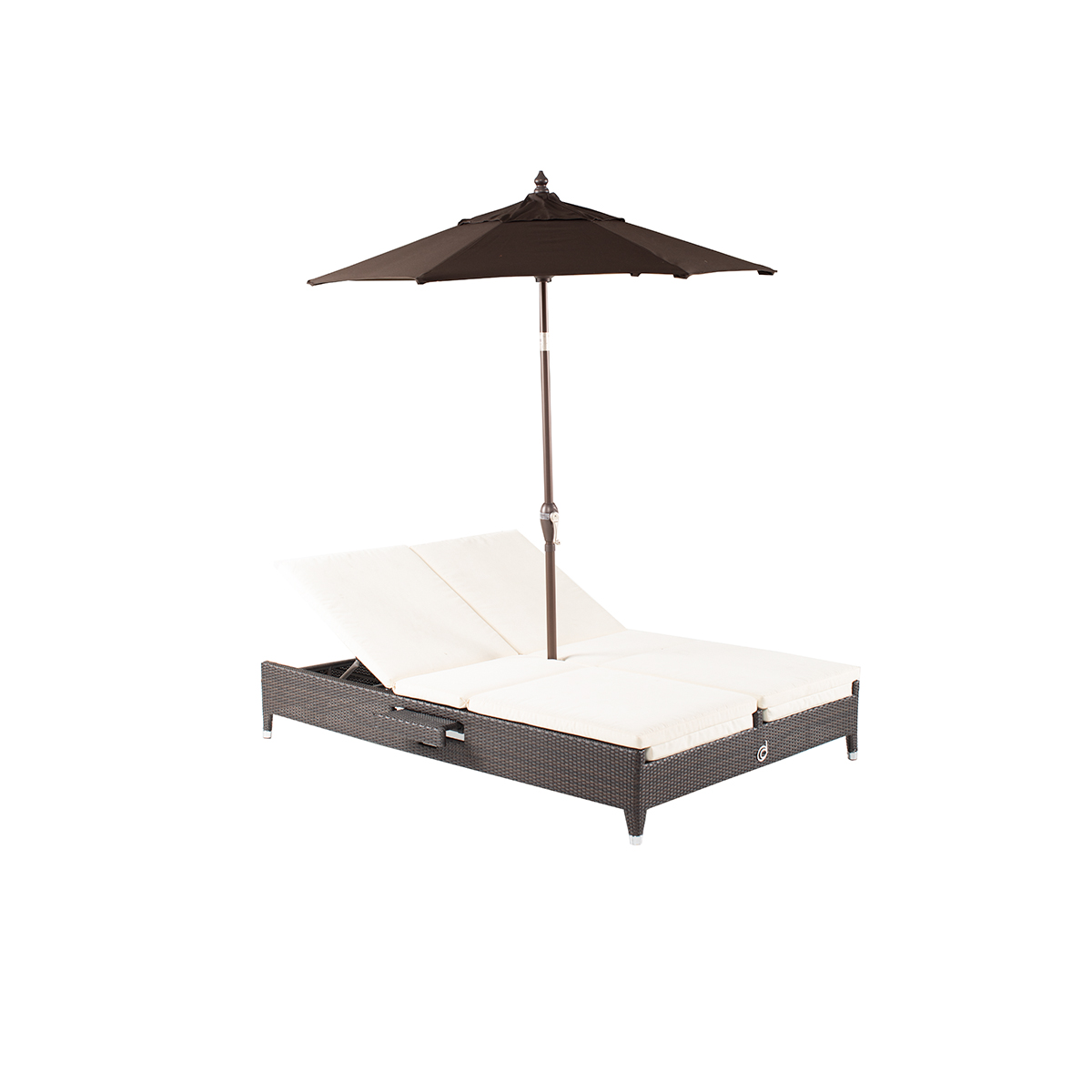 Cleveland Sun Lounger with Umbrella Hole (Brown)